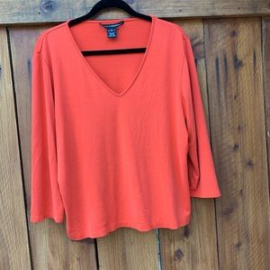 Ellen Tracy Red v neck 3/4 sleeve